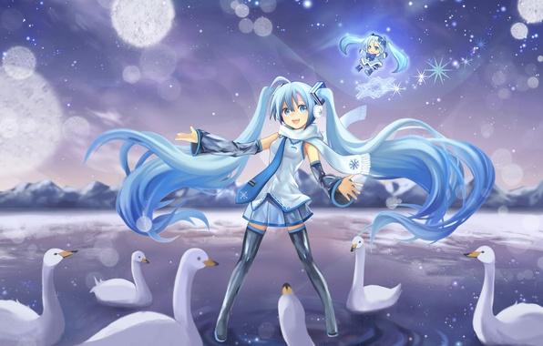 Picture cold, winter, mountains, snowflakes, lake, girls, scarf, art, vocaloid, swans, Vocaloid, yuki miku