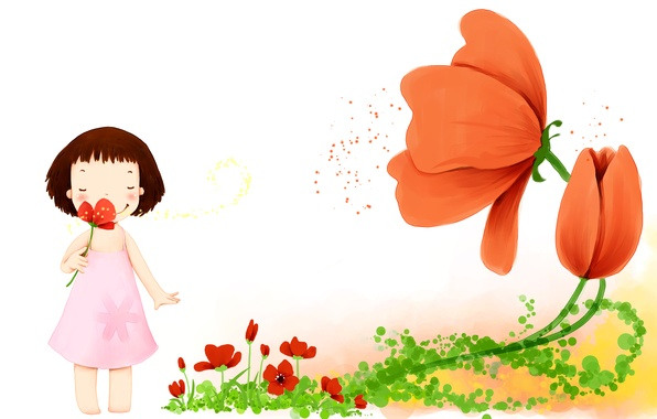 Picture flowers, smile, petals, dress, girl, baby Wallpaper