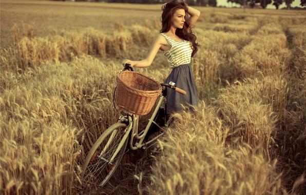 Picture field, bike, pose, Girl, dress, brown hair