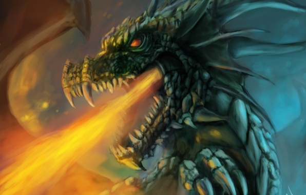 Picture fiction, fire, dragon, art, mouth, fire-breathing