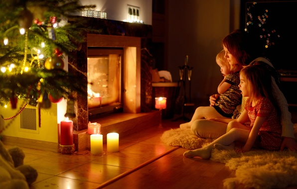 Picture children, comfort, woman, new year, Christmas, family, fireplace