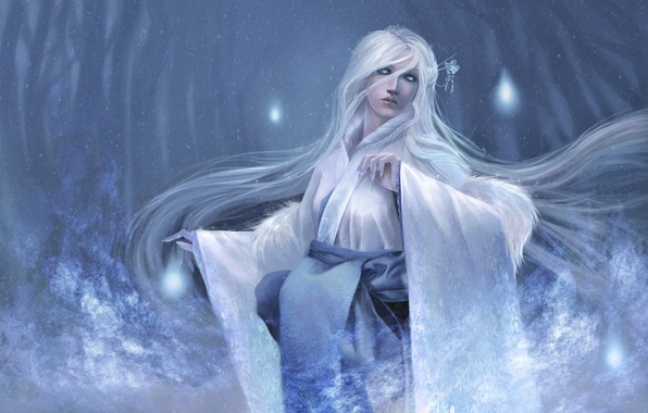 Picture girl, trees, hair, frost, yuki-onna