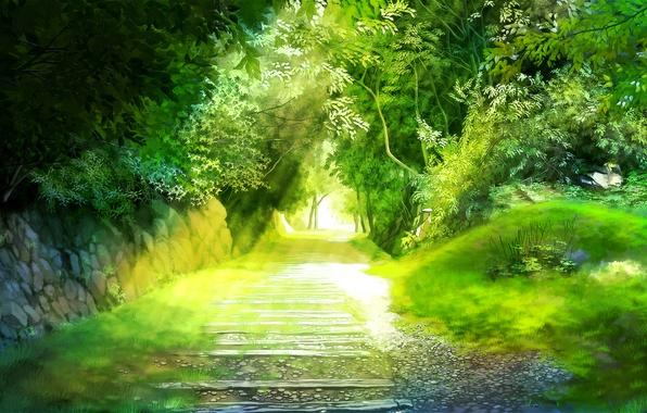 Picture greens, trees, landscape, track, alley, miyukin, miyuki readers