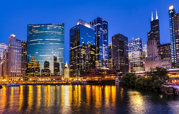 Picture light, the city, lights, reflection, river, coast, building, skyscrapers, the evening, Chicago, USA, USA, Il, …