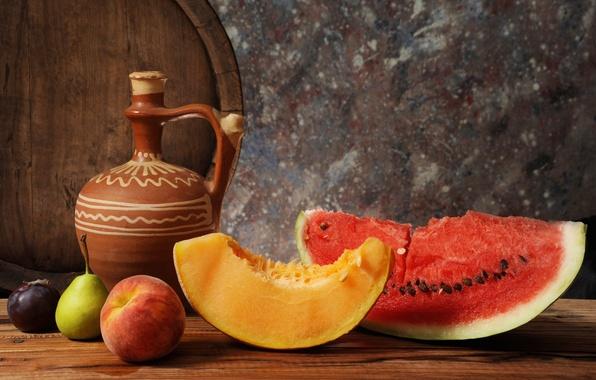 Picture watermelon, pear, pitcher, fruit, still life, barrel, peach, melon, drain