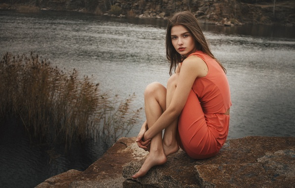 Picture autumn, look, girl, nature, face, pose, lake, stones, mood, sweetheart, model, portrait, morning, dress, touch, ...