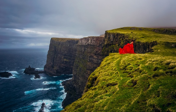 Picture girl, mood, the ocean, coast, Denmark, red dress, The Atlantic ocean, Faroe Islands, Faroe Islands, …