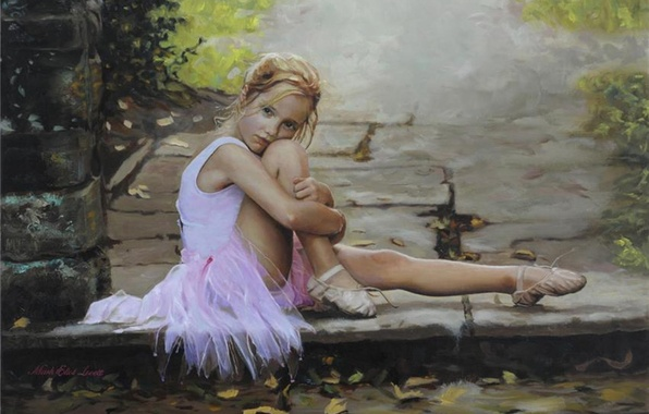 Picture sadness, girl, girl, ballerina, Mood, Pointe shoes, young