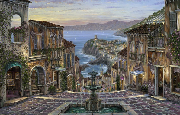 Picture sea, coast, home, the evening, Italy, pictures, fountain, painting, Robert Finale, Vernazza, Summer in Vernazza, …