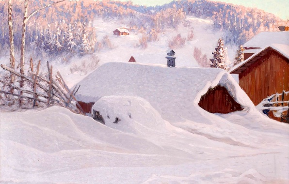 Picture winter, forest, snow, trees, landscape, hills, home, picture, roof, the snow, Anshelm Schultz, Mountain