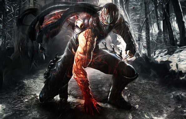 Picture weapons, rain, blood, armor, mask, guy, ninja, Ninja Gaiden