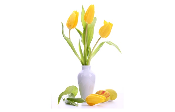Picture flowers, eggs, yellow, Easter, tulips, white, vase