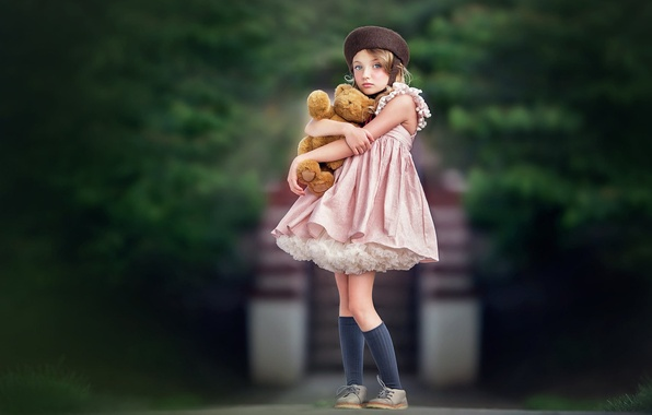 Picture look, mood, toy, dress, bear, girl, Teddy bear