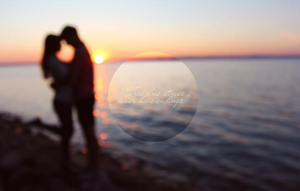 Picture water, girl, sunset, lake, glare, stones, romance, shore, Love, pair, male, love, guy, beautiful, sun, …