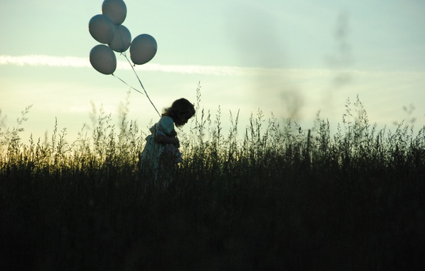 Picture sadness, field, the sky, grass, balls, loneliness, the evening, girl