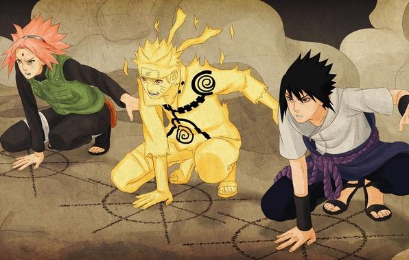 Picture Sasuke, Naruto, Sakura, manga, ninjutsu, kuchiyose no Jutsu, the Fourth Shinobi War