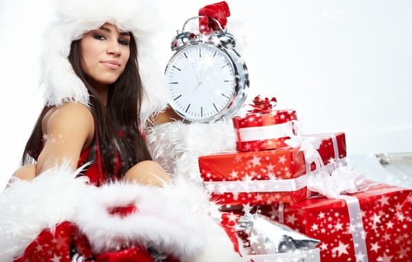 Picture white, girl, red, holiday, watch, new year, brunette, alarm clock, gifts, red, girl, white, new …