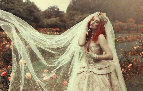Picture girl, flowers, style, Park, mood, model, roses, crown, dress, red, the bride, redhead, veil, wedding ...