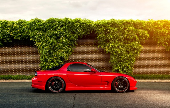 Picture red, Mazda, Blik, red, the bushes, Mazda, RX-7, brick wall