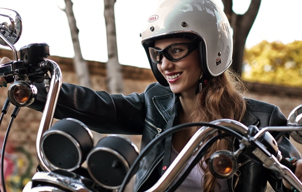 Picture girl, face, smile, motorcycle, helmet, leather jacket