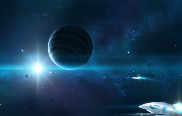 Picture planet, ships, stars, meteorites
