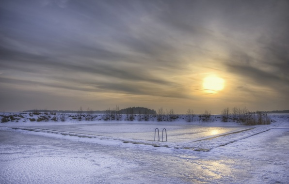 Picture ice, winter, the sky, the sun, snow, sunset, clouds, lake, the evening, pool, Sweden