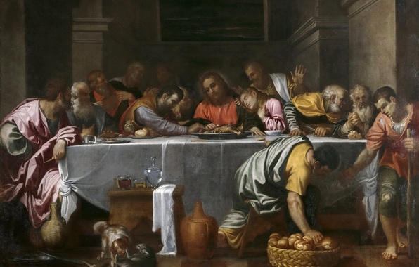 Picture picture, religion, mythology, The Last Supper, Agostino Carracci