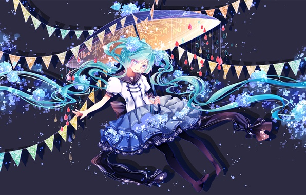 Picture girl, flowers, smile, umbrella, anime, art, vocaloid, hatsune miku, shuuumatsu