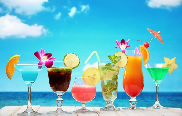 Picture sea, beach, cocktail, summer, fruit, beach, fresh, sea, fruit, paradise, drink, cocktail, tropical