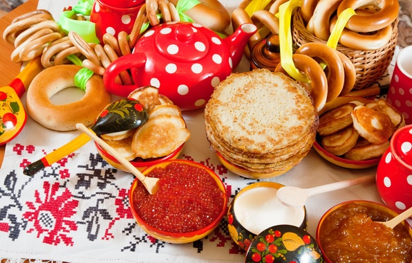 Picture food, bagels, red, pancakes, caviar, drying, pancakes, sour cream, pancakes, jam