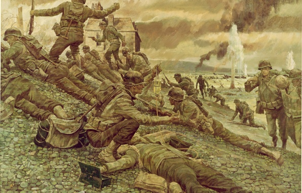 Picture weapons, figure, France, art, soldiers, equipment, Normandy, WW2, the landing of allied troops, 6 June …