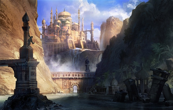 Picture mountains, the city, river, rocks, people, art, arch, ruins, Prince of Persia, The Forgotten Sands