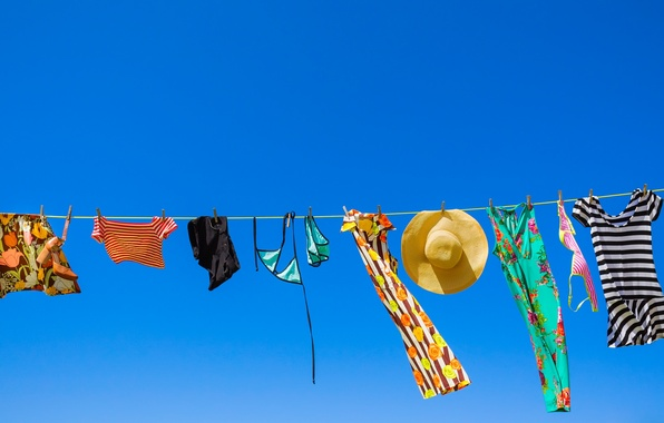 Picture sky, clothes, sunny, clothes line
