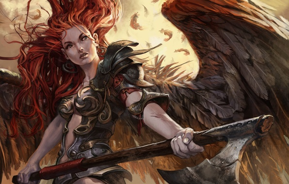 Picture girl, wings, Angel, Angel, Magic: The Gathering, Jesper Ejsing