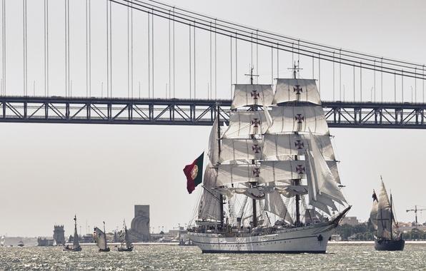 Picture bridge, river, sailboat, Portugal, Lisbon, Portugal, Lisbon, the Tagus river, bark, NRP Sagres III, Tagus …