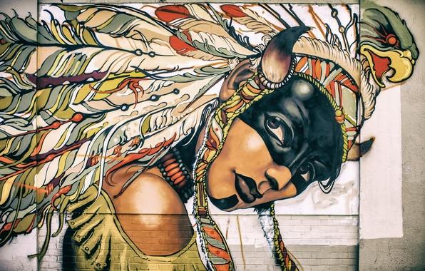 Picture girl, face, wall, paint, graffiti, feathers, paint, headdress