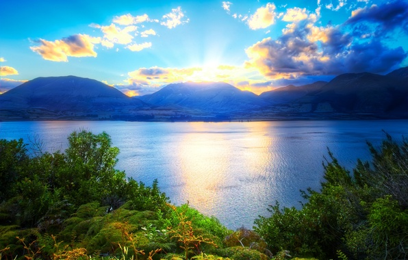 Picture greens, the sky, grass, water, the sun, clouds, mountains, nature, lake, plants, beautiful
