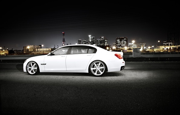 Picture white, night, the city, BMW, BMW, white, skyscrapers, megapolis, 750Li, 7 Series, F02