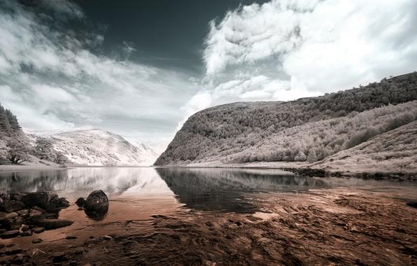 Picture landscape, mountains, lake, style, color