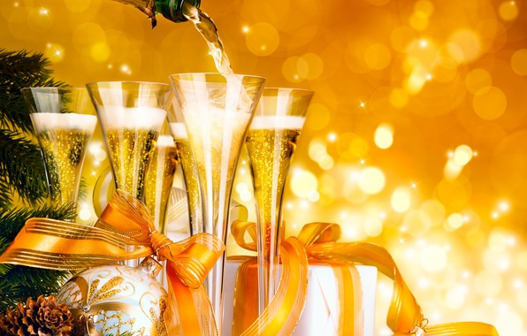 Picture glass, color, stars, decoration, yellow, tape, wine, balls, magic, bottle, ball, beauty, Christmas, photos, beautiful, ...