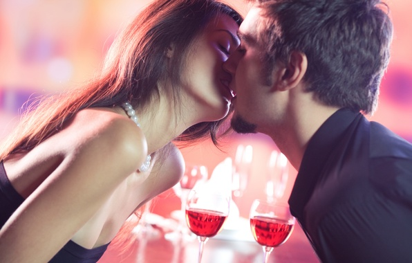 Picture girl, wine, kiss, glasses, pair, guy