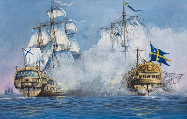 Photo wallpaper wave, oil, explosions, ships, bursts, battle, art, watercolor, Navy, battle, Russia, the battle, Sweden, sea, ...