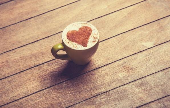 Picture heart, coffee, Table, mug