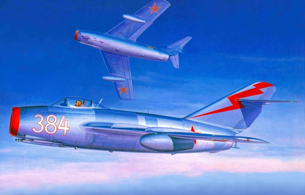 Picture the plane, fighter, art, combat, BBC, jet, the world, countries, OKB, Soviet, The MiG-15, armed, …