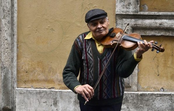 Picture music, street, violin, people