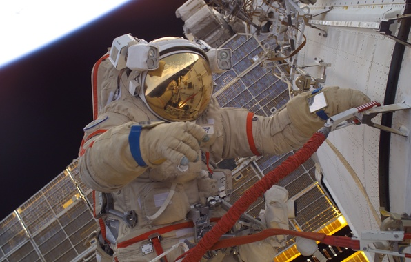 Picture astronaut, Space, ISS, Orlan M, Russian spacesuit