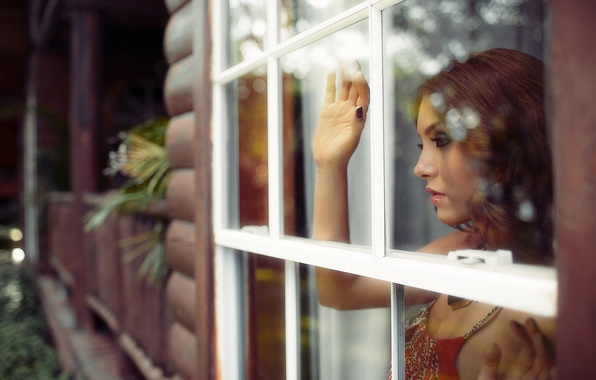 Picture girl, house, mood, window