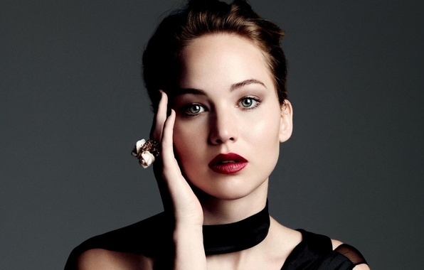 Picture girl, face, grey, background, hand, portrait, makeup, actress, ring, Jennifer Lawrence, Jennifer Lawrence