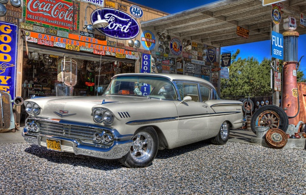 Picture retro, dressing, Chevrolet, car, classic, Chevy, gas station, 1958, service