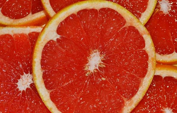Picture red, citrus, grapefruit, slices, juicy
